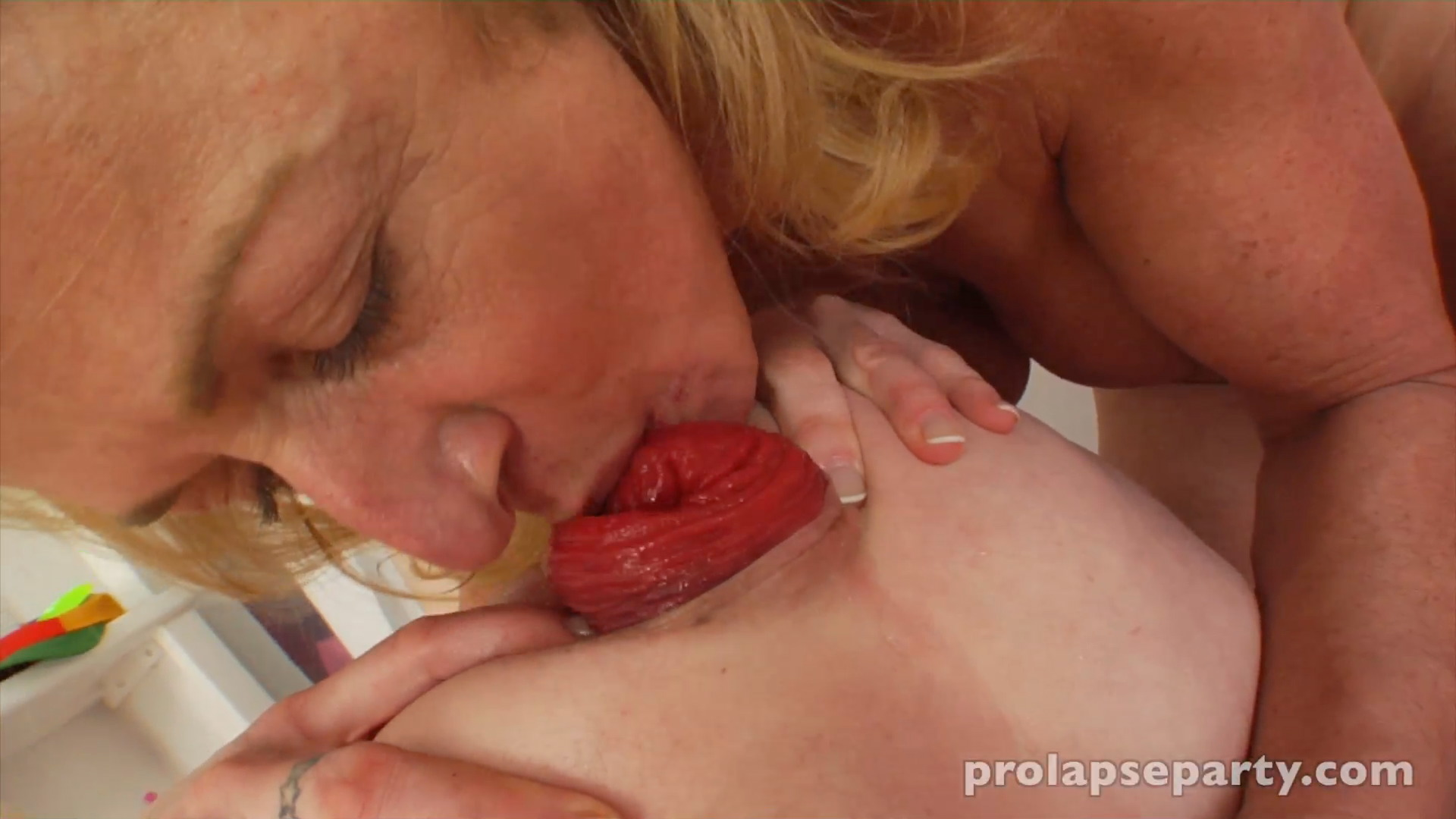 Womans prolapse sucked out of her ass with a pump 6